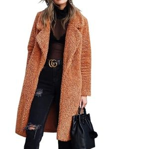 Long Teddy Bear Fuzzy Sherpa Coat | Cognac
